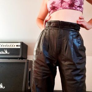 Vintage 80s Leather High Waisted Pants 8M